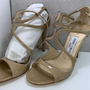 New/Authentic Jimmy Choo Glossy Leather Sandals 9